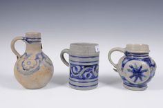 18th Century Westerwald stoneware winebottle and salt glazed mugs from Reeham and Dansie Auctioneers
