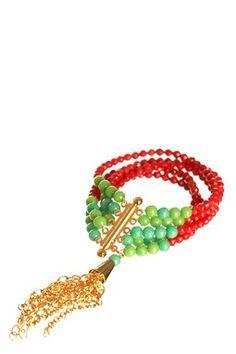 Nugaard Coral Tassel Layer Bracelet