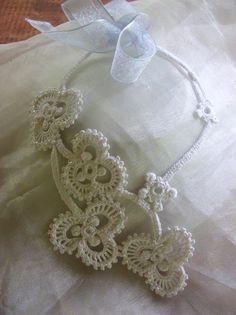 White Shamrock Irish Crochet Necklace.
