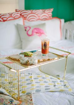 A Breakfast In Bed tray. fresh colors {love the way this is styled} Home Decor Inspiration, Design Inspiration, Bed Tray, Breakfast In Bed, Bars For Home, Decoration, Home Accessories, Architecture, Sweet Home
