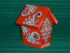 Painted+Bird+Houses | Hand Painted Bird House - Red with Jewels