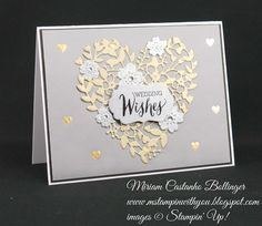 Miriam Castanho Bollinger, #mstampinwithyou, stampin up, demonstrator, dsc, wedding card, gold fancy foil vellum, brushed gold card stock, brushed silver card stock, heat embossing, rose wonder stamp set, big shot, circle card thinlit, bloomin' heart thinlit,su