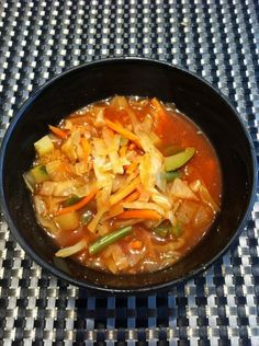 John loves this soup! Cabbage and Veggie Soup (Weight Watchers recipe with zero points). I like to make this adding in Rotel tomatoes or canned tomatoes and red pepper flakes for some extra spice.