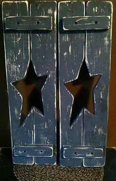 Primitive decor handcrafted shutters w/star cutouts black (real barn wood!!!)