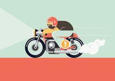 Cafe Racing Illustration by Dylan Jones Bike Illustration, Flat Design Illustration, Character Illustration, Graphic Illustration, Motorcycle Art, Bike Art, Motorcycle Posters, Logos Vintage, Bike Drawing