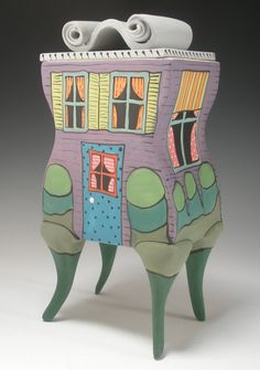 Porcelain Ceramic House Box on Legs by PainterlyPots on Etsy, $92.00