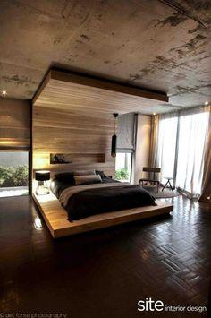 salon en plateforme - sol plus foncé, plateforme bois