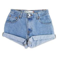 Vintage 90s Levi's Medium Blue Wash High Waisted Rise Cut Offs Cuffed... ❤ liked on Polyvore featuring shorts, cutoff shorts, denim cut-off shorts, high-waisted denim shorts, levi shorts and high-waisted shorts
