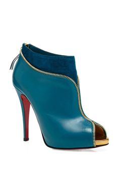 CHRISTIAN LOUBOUTIN Zippie Booties blue suede & leather gold zipper trim