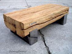 Reclaimed oak beams turned into coffee table