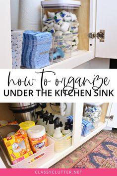 Under Kitchen Sink Organization, Diy Kitchen Storage, Home Organization Hacks, Pantry Organization, Organizing Kitchen Cabinets, Kitchen Cleaning, Organize Under Sink, How To Clean Kitchen Cabinets, Apartment Kitchen Organization