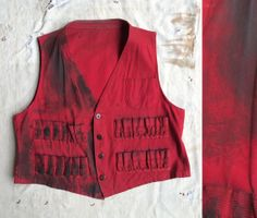 vintage c. 1950s distressed red canvas hunting vest by MouseTrapVintage, $84.00