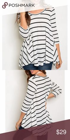 "Striped Scoop Neck 3/4 Sleeve Top Striped Scoop Neck 3/4 Sleeve Top with handkerchief Hem. 95% Rayon 5% spandex. Available in small only. Length 25""/ Bust 36"". Lulupie Tops"