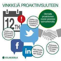 Vinkkejä proaktiivisuuteen. #työnhaku #rekrytointi #työelämä #sosiaalinenmedia #some #linkedin #twitter #eilakaisla