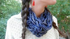 Arm Knit Scarf Circle Scarf Soft Warm Scarf Infinity Cowl Blue Grey Scarf Loop Scarf Gift for Women Neck Warmer Winter Accessory Fashion