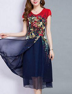 3916fc26f8   18.94  Mujer Tallas Grandes Noche Gasa Vestido - Multi capa Estampado