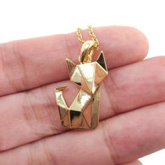 Abstract Origami Fox Shaped Pendant Necklace in Gold | Animal Jewelry