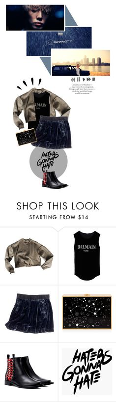 """""""Runaway"""" by chomiczynka ❤ liked on Polyvore featuring My Mum Made It, Balmain, Madewell, Alexander McQueen and Old Navy"""