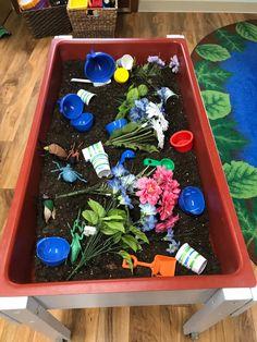 Spring sensory table Soil, fake flowers, shovels, rakes, cups, etc.