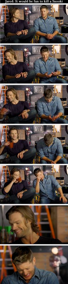 [Gifs] i love how Jared's all like...coffee...and smirk, while Jensen's lost it.