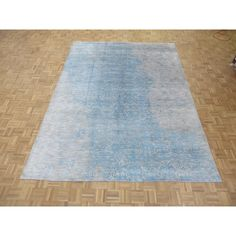 Hand Knotted Sky Modern with Silk Blend Rug