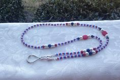 Beaded Lanyard Red White & Blue Patriotic ID by TheLanyardNecklace