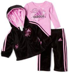 Adidas Baby-girls Infant 3 Piece Velour Set