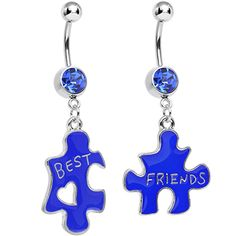 Blue Crystal Double Puzzle Piece Best Friends Dangle Belly Ring Set | Body Candy Body Jewelry #bodycandy