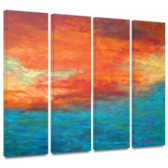 'Lake Reflections II' by Herb Dickinson 4 Piece Painting Print Gallery-Wrapped on Canvas Set
