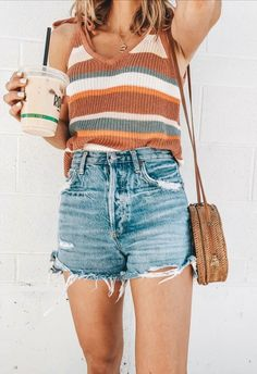 Style Outfits, Cute Casual Outfits, Mode Outfits, Cute Summer Outfits, Spring Outfits, Casual Summer Clothes, Casual Shorts Outfit, Summer Clothing, Outfit Ideas Summer