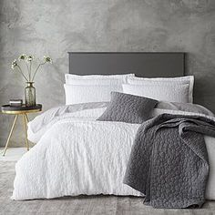 Pebble White Jacquard Duvet Cover and Pillowcase Set Duvet Cover Sizes, Quilt Cover Sets, Duvet Covers, Modern Contemporary, Pillow Cases, New Homes, Colours, Pure Products, Bedroom