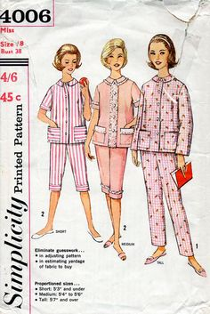 1960s Women's Pajamas Pattern Simplicity 4006 Vintage Sewing Pattern Summer or Winter Pyjamas Bust 38 Proportioned Sizes Short Medium & Tall