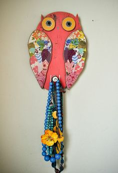 Owl Plaque with Knob by MatiRoseStudio on Etsy, $35.00