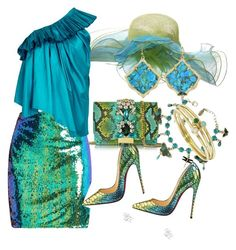 """""""The shimmering sea"""" by m-kints ❤ liked on Polyvore featuring Christian Louboutin, GEDEBE, Kendra Scott, Marques'Almeida, Jennifer Meyer Jewelry and turquoise"""