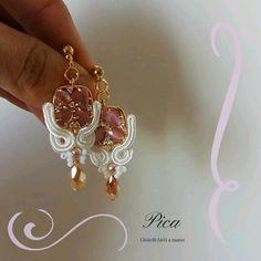 Wire Earrings, Flower Earrings, Earrings Handmade, Handmade Jewelry, Bead Embroidery Tutorial, Beaded Embroidery, Shibori, Soutache Tutorial, Soutache Jewelry