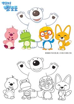 Pororo Coloring Pages. Coloring Pages give a methods to encourage their creative talents to develop. Choose easily colored, and you can find endless combination Art Drawings For Kids, Drawing For Kids, Coloring Sheets For Kids, Coloring Books, Kids Coloring, Kindergarten Worksheets, Preschool Activities, Friendship Art, 3d Pen
