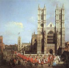 """Giovanni Antonio Canal """"Canaletto"""" - L'abbazia di Westminster e il corteo dei cavalieri dell'Ordine del bagno (EN: Westminster Abbey, with a Procession of Knights of the Bath), 1749"""