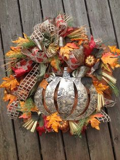 PUMPKIN BOUNTY fall wreath with leaves and by TheLemonadeBoutique