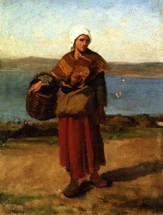 """Jules Breton """" Femme de pêcheur Douarnenez """" 1870"""