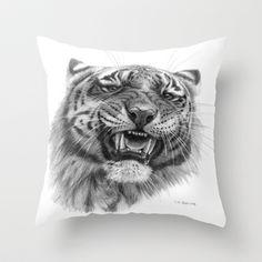Tiger roar  G082 Throw Pillow by S-Schukina - $20.00
