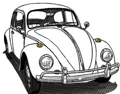 A drawing of a Beetle my bus club gave away a couple years ago at a car show.