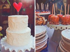 white cake with a touch of love oh so cute! Lovely simple finish