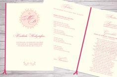 Kirchenheft Sommernachtstraum DIN A5, Pink, Creme, Band, mit Hochzeitslogo und floralem Muster, ©passion4paper, www.die-edle-karte.de