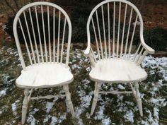 Our Rustic White New England Windsor chairs -- find them at www.furniturefromthebarn.com Farmhouse Style Furniture, Windsor Chairs, Rustic White, Take A Seat, Accent Furniture, New England, Primitive, Dining Chairs, Shabby Chic