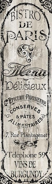 Paris Bistro II Wood Print by Mindy Sommers. All wood prints are professionally printed, packaged, and shipped within 3 - 4 business days and delivered ready-to-hang on your wall. Choose from multiple sizes and mounting options. Vintage Labels, Vintage Signs, Artist Canvas, Canvas Art, Painting Prints, Art Prints, Shabby, Style Retro, Lettering