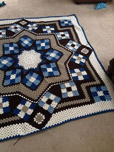 Blue Star afghan - #Free #Pattern - #Crochet