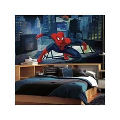 RoomMates Ultimate Spider-Man CityScape Wall Mural, Blue