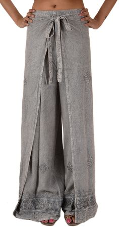 Skirts N Scarves Women's Embroidered Rayon Wrap Pant/Harem Pant Grey