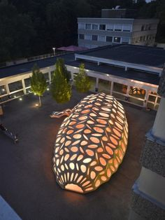 Pop-up Pavilion by BOWOOSS Research Project, headed by Göran Pohl. A cocoon-like temporary summer pavilion in Saarbrücken, Germany, is the result of a research project on biomimicry conducted at the city's architecture school.