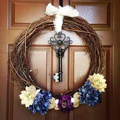 Bymark Inspired Key Wreath.  #burlap #keys #key #wreath #keywreath #buyme www.brffco.con